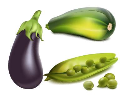茄子、瓜、えんどう豆 ベクターイラスト素材