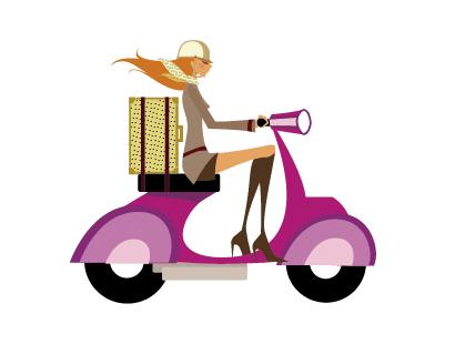 女性,バイク,スクーター,お出かけ ベクターイラスト素材