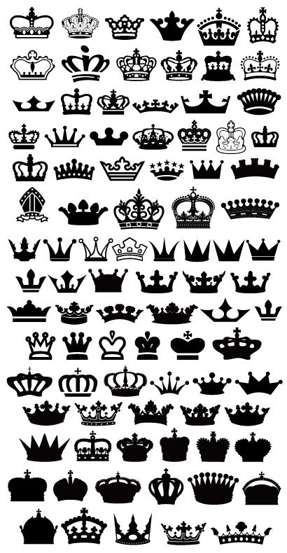 王冠アイコンシルエット ベクターイラスト素材