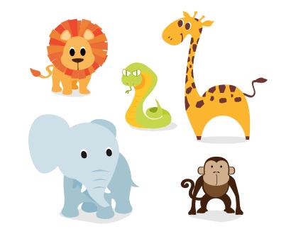 動物、ライオン、ヘビ、キリン、ゾウ、サル ベクターイラスト素材