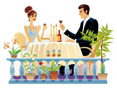 カップル,ディナー,ワイン,観葉植物 ベクターイラスト素材