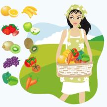 野菜・果物が入ったカゴを抱える女性 ベクターイラスト素材
