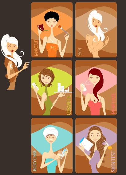 女性,化粧,美容,コスメティック,香水,エステ ベクターイラスト素材