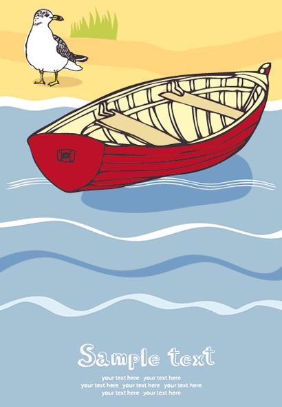 小船,小舟,ボート,鴨,かも,カモ,カルガモ ベクターイラスト素材