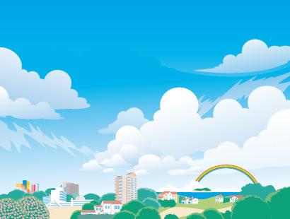 夏のイメージ,町並み,街並み,風景,景色,建物 ベクターイラスト素材
