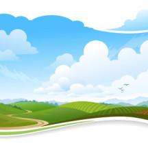 夏のイメージ,風景,景色,山道,岡.草原,田舎風景 ベクターイラスト素材