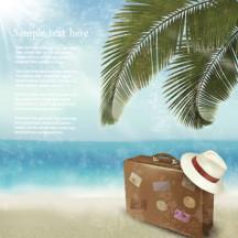 夏のイメージ,海,青空,ビーチ,椰子の木,トランク,帽子 ベクターイラスト素材