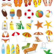 夏のイメージ,夏の風物詩,ビーチ,アイコン,アイテム ベクターイラスト素材