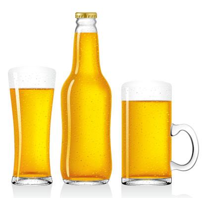 ビール,ビール瓶,ビールジョッキ,ビールグラス,泡,水滴 ベクターイラスト素材