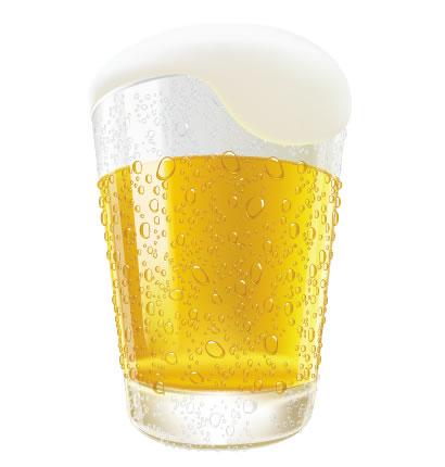 ビール,ビールグラス,泡,水滴 ベクターイラスト素材