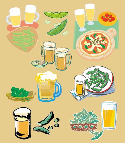 ビール,ビールジョッキ,枝豆,ピザ,プチトマト ベクターイラスト素材