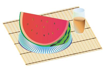 スイカ,麦茶,竹ランチョンマット ベクターイラスト素材