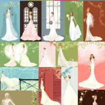 結婚式,ウエディング,カップル ベクターイラスト素材