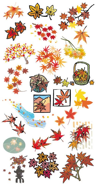 紅葉,もみじ,紅葉狩り/和風のイラストai/eps