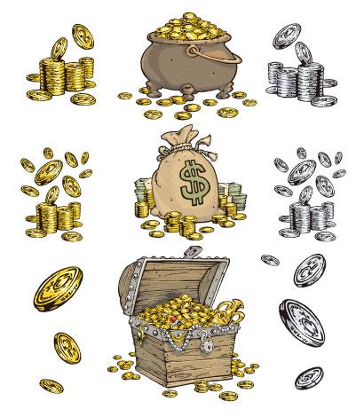 宝箱,金貨,銀貨,ドル袋 ベクターイラスト素材