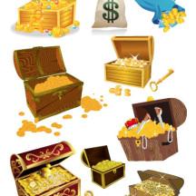 宝箱,金貨,財宝,ドル袋 ベクターイラスト素材