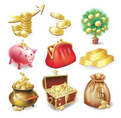 宝箱,金貨,豚の貯金箱,ドル袋,金塊,がま口財布 ベクターイラスト素材