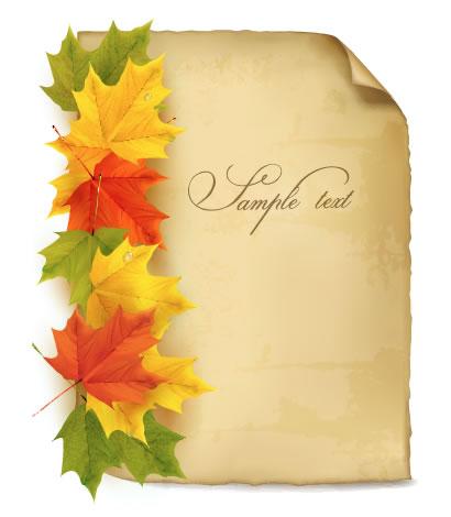 紅葉,もみじ,めくれた紙 ベクターイラスト素材