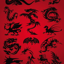 竜,龍,ドラゴン,辰(たつ),シルエット ベクターイラスト素材
