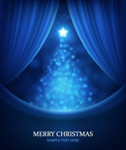 カーテン,幕,緞帳,光のクリスマスツリー背景 ベクターイラスト素材