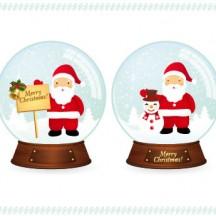 クリスマス,サンタクロース,雪だるま,スノードーム ベクターイラスト素材