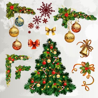 クリスマス,コーナーフレーム枠飾り,クリスマスツリー ベクターイラスト素材