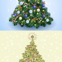 クリスマスツリー,馬,クリスマス背景 ベクターイラスト素材
