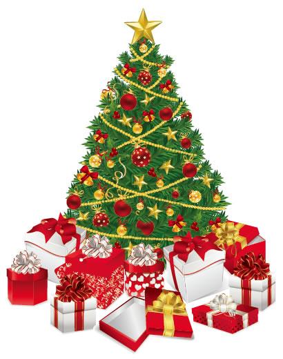 クリスマスツリー,クリスマスプレゼント ベクターイラスト素材