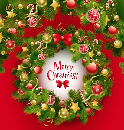 クリスマスリース,クリスマスフレーム飾り枠 ベクターイラスト素材