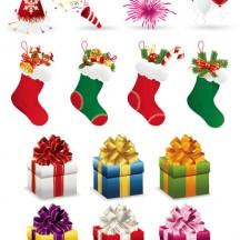 クリスマスパーティーグッズ,クリスマスプレゼント,靴下 ベクターイラスト素材
