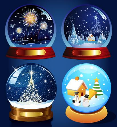 クリスマス,水晶玉,雪だるま,スノードーム ベクターイラスト素材