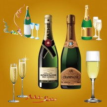 シャンパンボトル,シャンパングラス,クラッカー ベクターイラスト素材