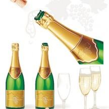 シャンパンボトル,シャンパングラス,コルク栓 ベクターイラスト素材