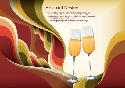 シャンパングラス,抽象的背景イメージ ベクターイラスト素材