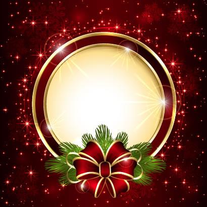 クリスマス背景,リボン,フレーム枠 ベクターイラスト素材