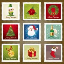 クリスマス背景,切手フレーム枠 ベクターイラスト素材