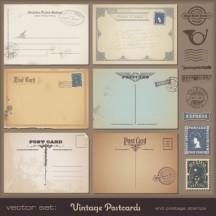 ポストカード,切手,消印スタンプ,ヴィンテージ ベクターイラスト素材