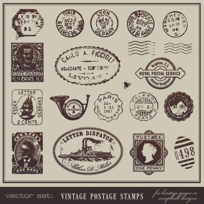 切手,消印スタンプ,ヴィンテージ ベクターイラスト素材
