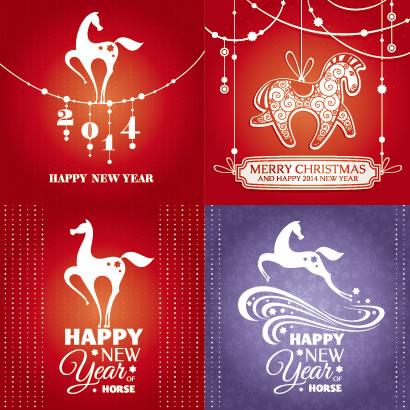 馬,午年,クリスマスカード,年賀状背景 ベクターイラスト素材