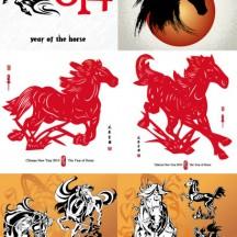 馬,午年,年賀状背景 ベクターイラスト素材
