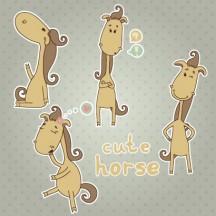 馬,午年,キャラクター ベクターイラスト素材