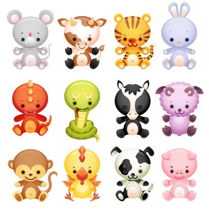 干支,十二支,動物キャラクター ベクターイラスト素材