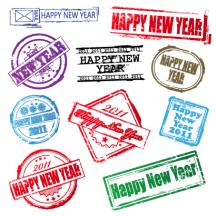 年賀状スタンプ,はんこ印,a happy new year ベクターイラスト素材