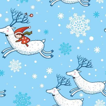 トナカイに乗った女の子,雪の結晶,クリスマスパターン ベクターイラスト素材