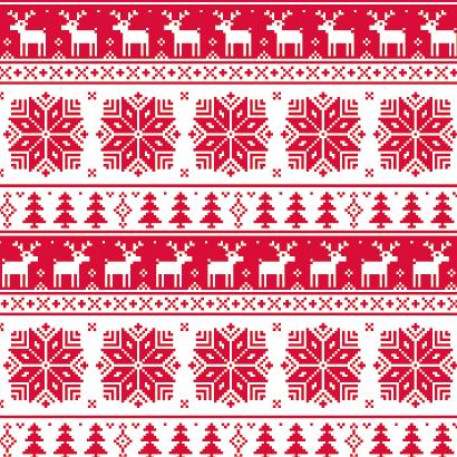 冬のセーター柄パターン,トナカイ,もみの木,雪の結晶 ベクターイラスト素材