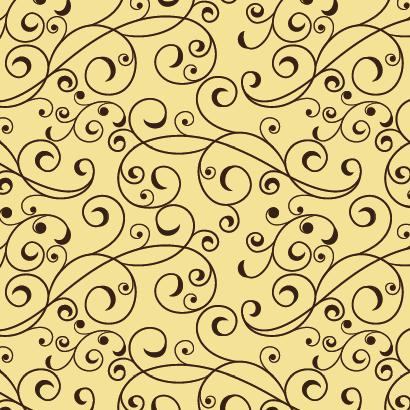 蔓草模様,唐草模様パターン ベクターイラスト素材