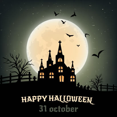 ハロウィン背景,月夜,館,コウモリ ベクターイラスト素材