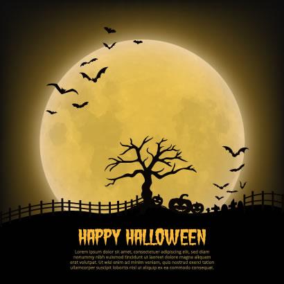 ハロウィン背景/月夜,かぼちゃランタンのイラストai/eps