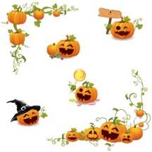 ハロウィン かぼちゃ コーナーフレーム飾り ベクターイラスト素材