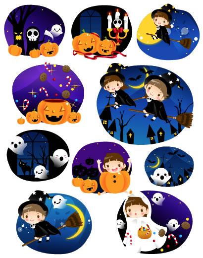 ハロウィンパーティー かぼちゃ 魔女の女の子 ベクターイラスト素材